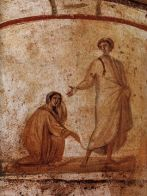 Christ healing a bleeding woman, Catacombs of Rome