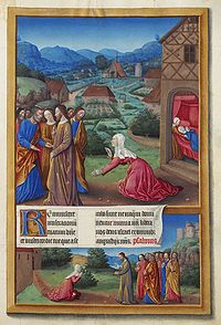 Jesus exorcising the Canaanite Woman's daughter from Très Riches Heures du Duc de Berry, 15th century.