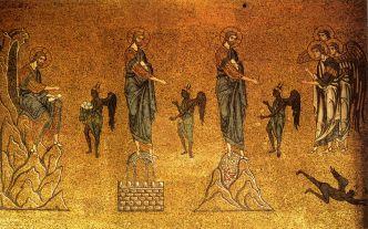 The Temptations of Christ, 12th century mosaic, St. Mark's Basilica, Venice