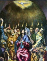 The descent of the Holy Spirit in tongues of fire on the Day of Pentecost, signaling the founding of teh Church, El Greco (1541-1614)