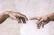 Detail - The Hands from the fresco, The Creation of Adam (1511-1512), Michelangelo di Lodovico Buonarroti Simoni (1475-1564)